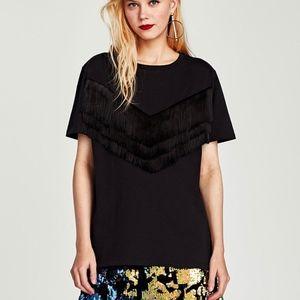 Zara Fringed T-Shirt with Short Sleeves